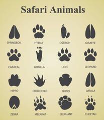 set of safari animal tracks