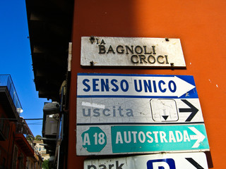 Street sign and directions, Sicily, Italy