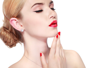 sexy whiteheaded young woman with beautiful red lips on white