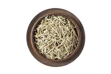 Rosemary dried in wood bowl on isolated white., Top view