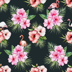 Watercolor tropical flral pattern