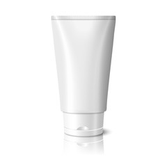 Blank white realistic tube for cosmetics, cream, ointment