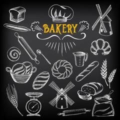 Bread and bakery design. Sketch, doodle vector.