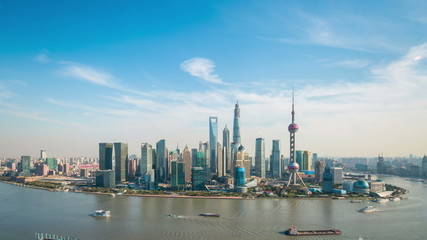 Wall Mural - shanghai skyline and aerial view of huangpu river ,time lapse