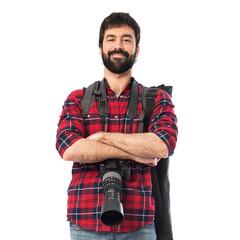 Photographer over white background