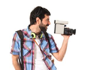 Tourist filming