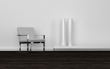 Contemporary Chair and Tall White Vases in Room