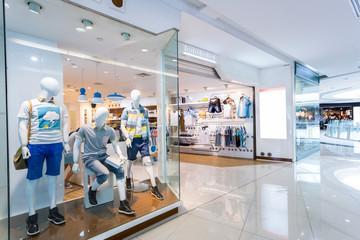 Mannequins in fashion shopfront
