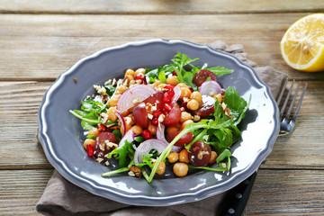 Light salad with fruits and chickpea