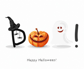 Halloween greeting card with pumpkins