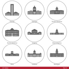US States - symbolized by the State Capitols (Part 4)