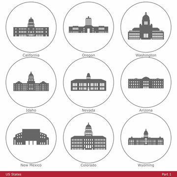US States - symbolized by the State Capitols (Part 1)