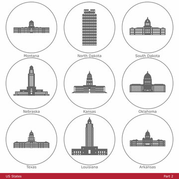 US States - symbolized by the State Capitols (Part 2)