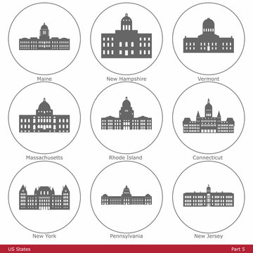 US States - symbolized by the State Capitols (Part 5)