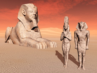 Egyptian sphinx and statues