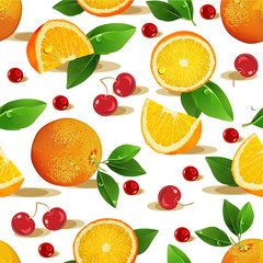 Seamless pattern with fruits. Orange, cherry, leaves