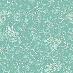 Seamless pattern with beetles, butterflies, grasshoppers