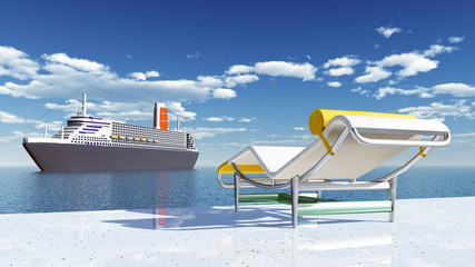 Deck chair and cruise ship