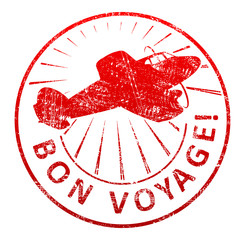 Bon voyage - rubber stamp with a airplane and rays in a grunge s