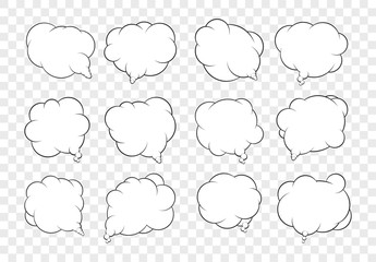 Set of dozen vector talking bubbles with white fills and transpa