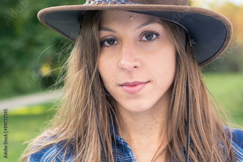 quotbrunette cowgirl posing on farmquot stock photo and royalty