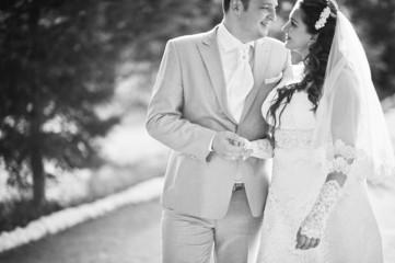 wedding couple on the scenic landscape