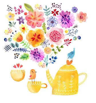 Cute tea time card watercolor