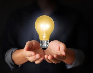 light bulb idea in the hand
