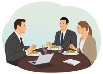 Business people are meeting and eating their lunch