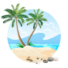Tropical island with palm trees isolated