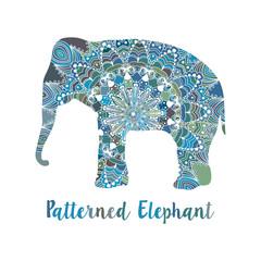 Mandala patterned vector elephant. Indian motives
