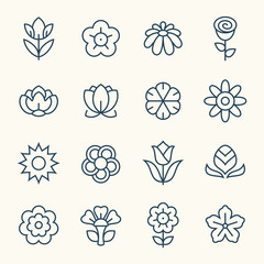 Flowers line icon set