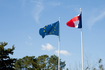 Flag of France and European flag in wind mat