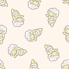 animal sheep summer cartoon , cartoon seamless pattern background