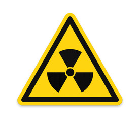 Yellow triangle sign with a radiation symbol ,part of a series.