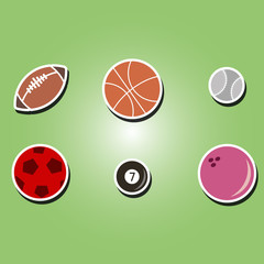 set of color icons with sports balls for your design