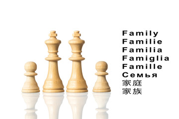"Representation of the family with chess pieces and the word ""fam"