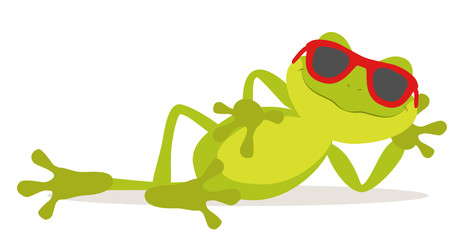 Lazy relax frog sunbathing with glasses