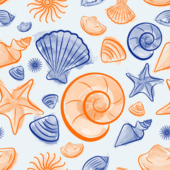 Seamless pattern with seashells created by watercolor brushes