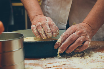 Making homemade bread. Retro styled imagery