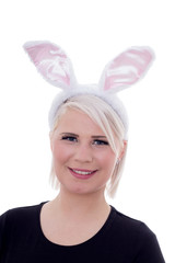 Easter bunny / Young blond, smiling woman with bunny ears