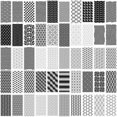 Set of black and white geometric seamless pattern.