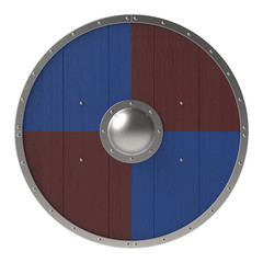 Viking shield with brown-blue checker pattern