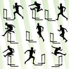 Athlete man hurdling in track and field vector background set