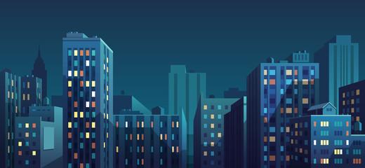 Foto auf Acrylglas Blaue Nacht Night cityscape. Vector illustration.