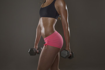 Profile of a Fitness Woman Exercising