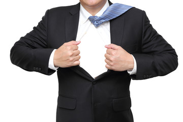 businessman open his suit showing blank space