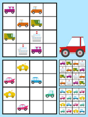 Kids sudoku puzzle with cars automobiles