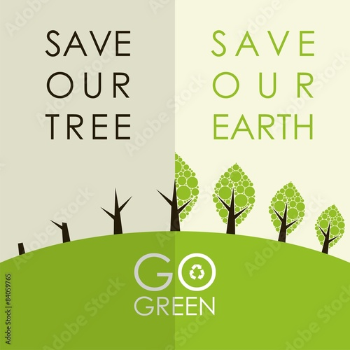 """Go green campaign poster set"" Stock image and royalty ..."