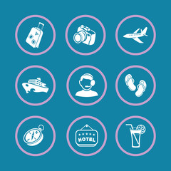 Tourism and travel. Vector icons.